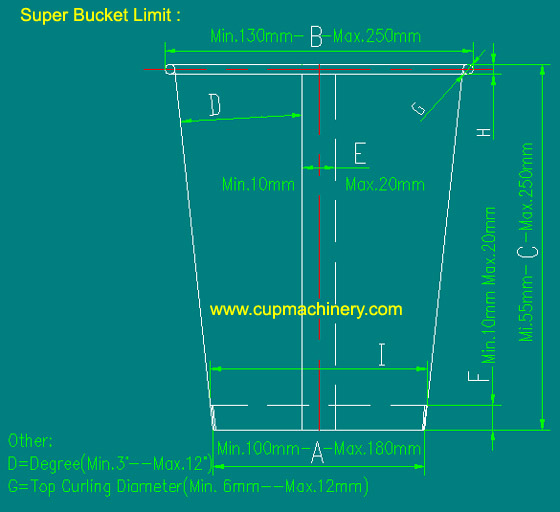 paper bucket dimensions